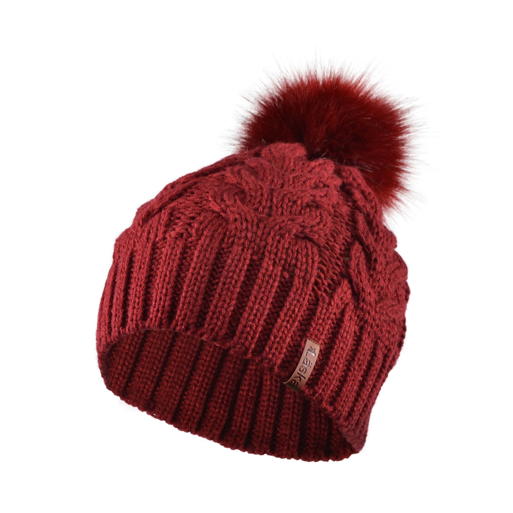 Cable Knit Lined Pom Toque - Burgundy