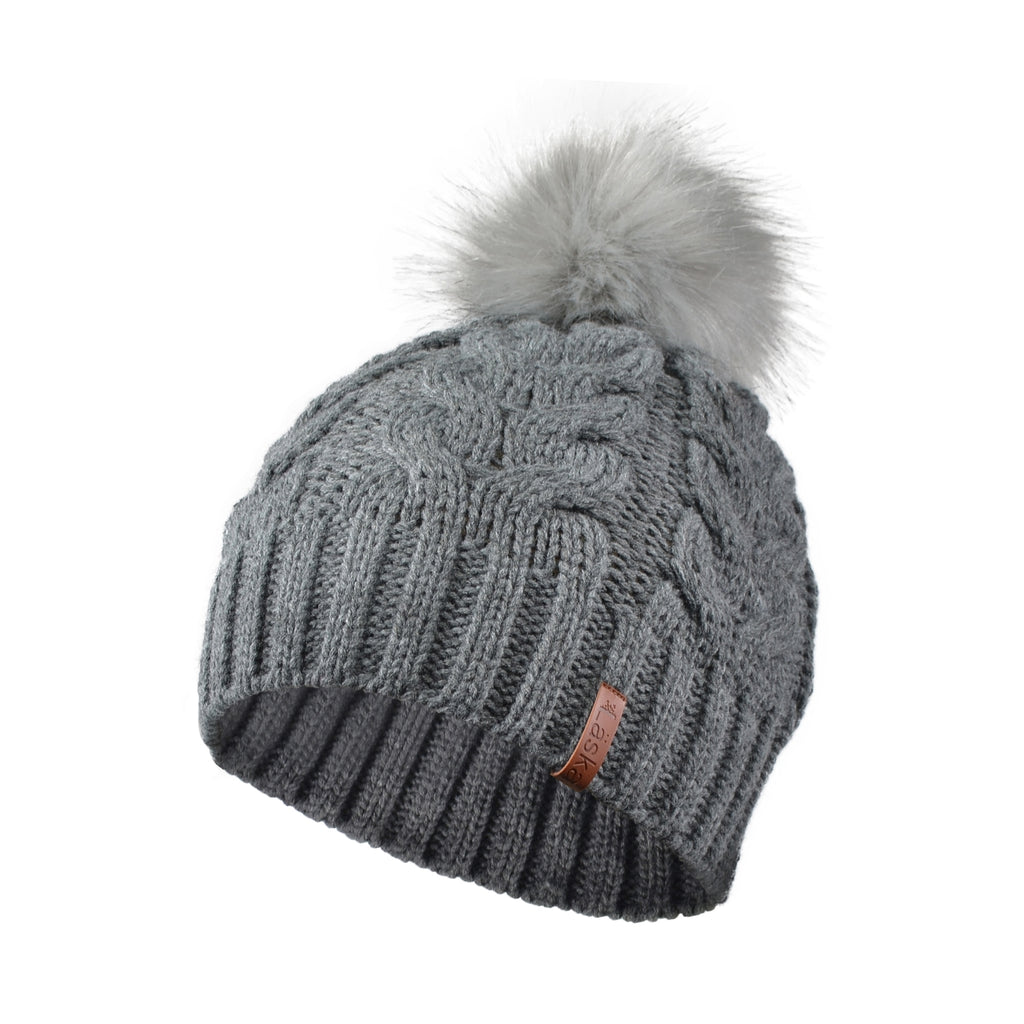 Cable Knit Lined Pom Toque - Mid-Grey