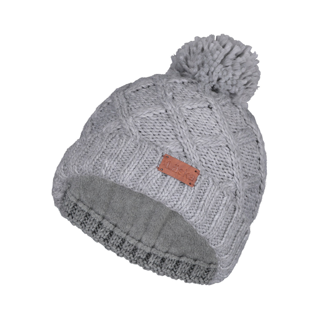 Criss-Cross Knit Lined Pom Toque - Light Grey