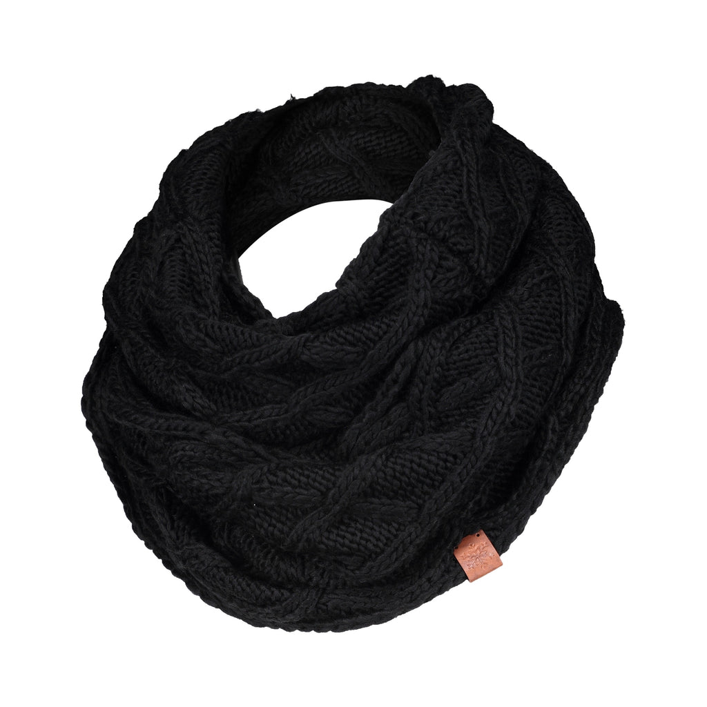 Criss-Cross Knit Infinity Scarf - Black