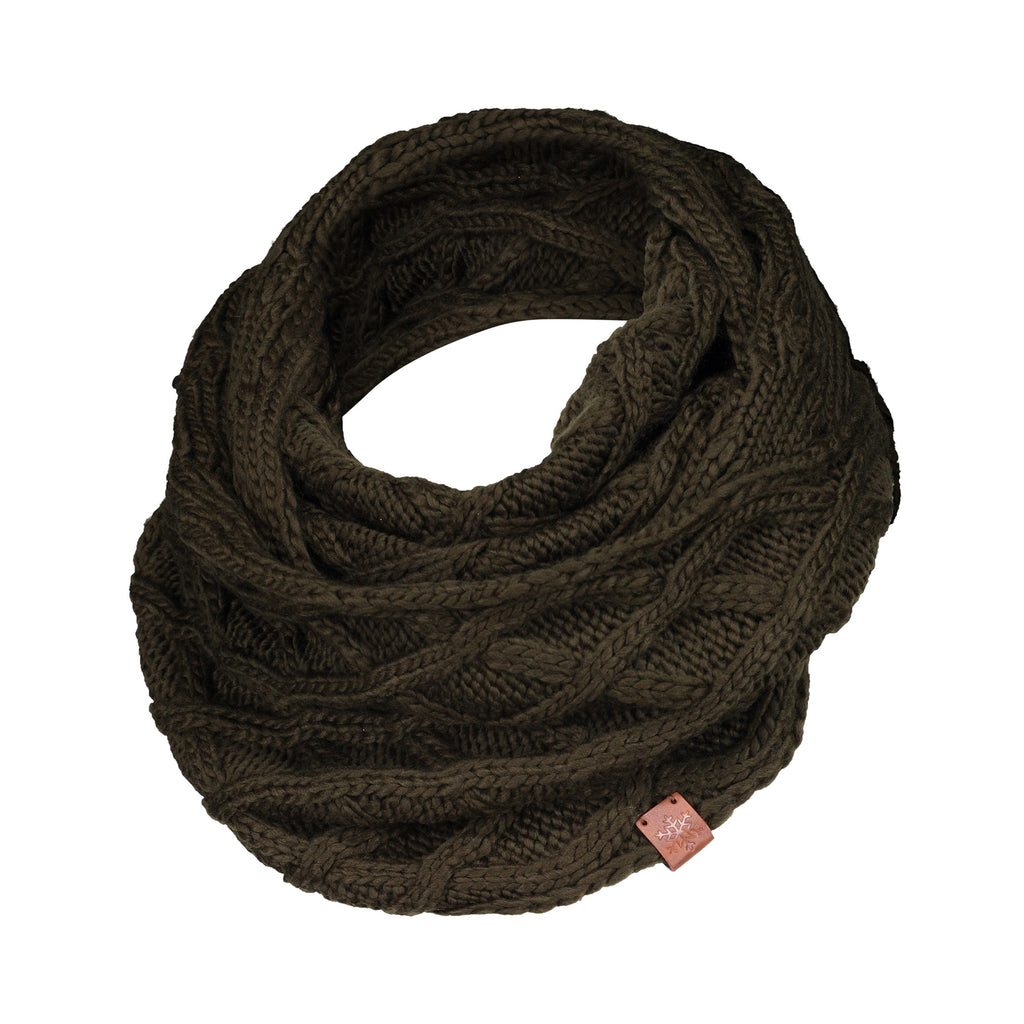 Criss-Cross Knit Infinity Scarf - Olive