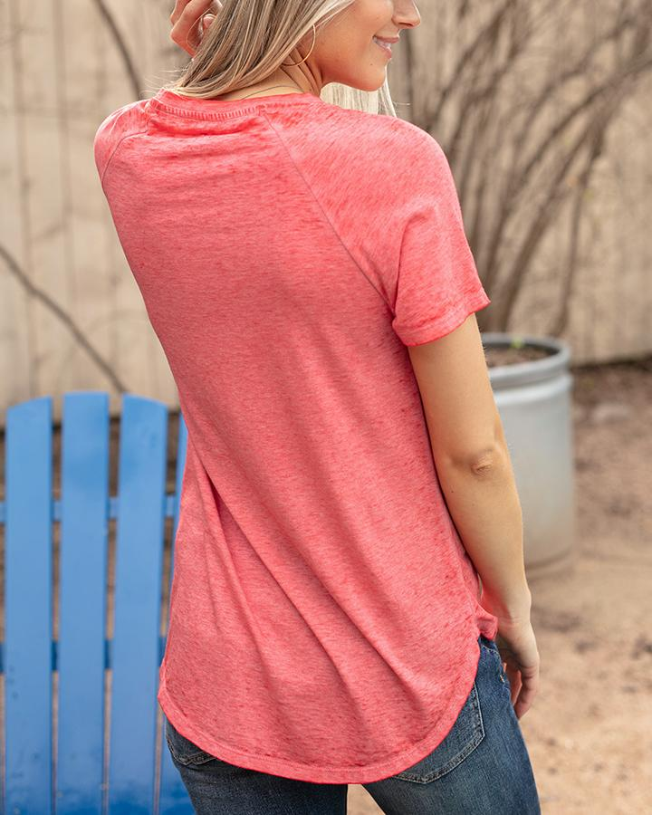 G&L Burnout Raglan Pocket Tee - Poppy