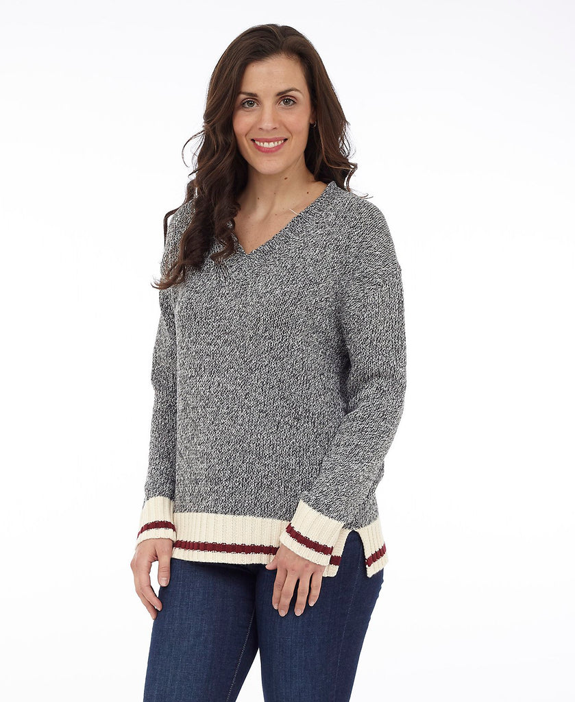 Cottage Collection Sock Monkey Knit Sweater - Heather w/ White and Red Stripe