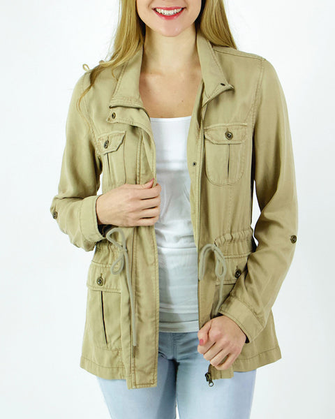 07383c4e4 G&L Luxe - Washed Tencel Cargo Jacket - Khaki – Death On Two Legs
