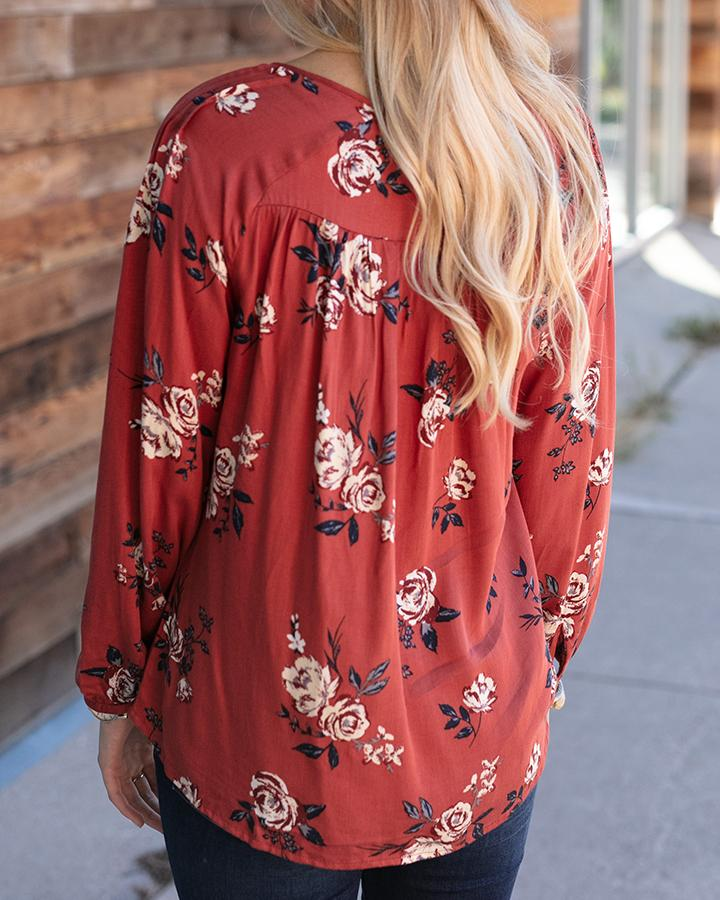 G&L Evelyn Pintuck Top - Amber Floral