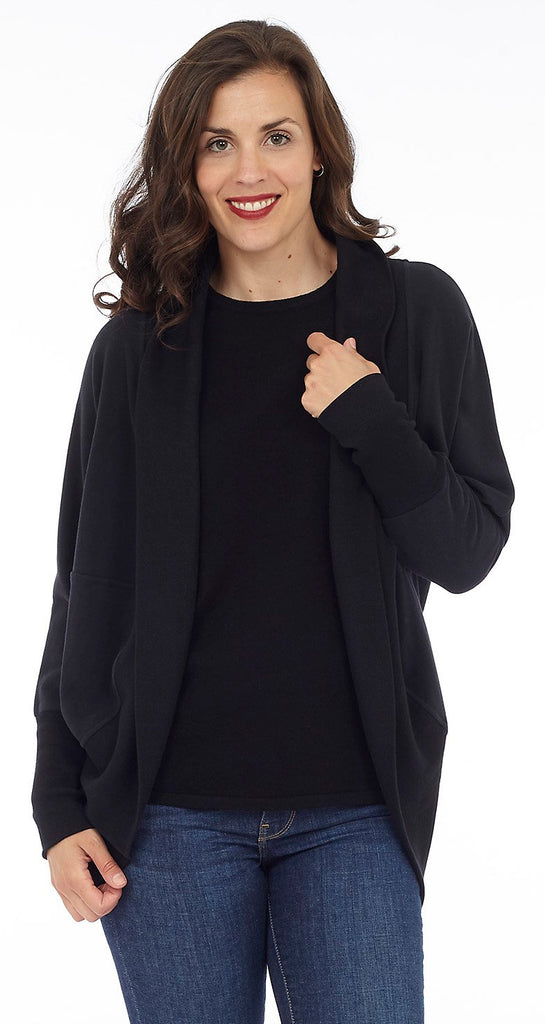 Cottage Collection Open Scoop Back Cardigan - Black