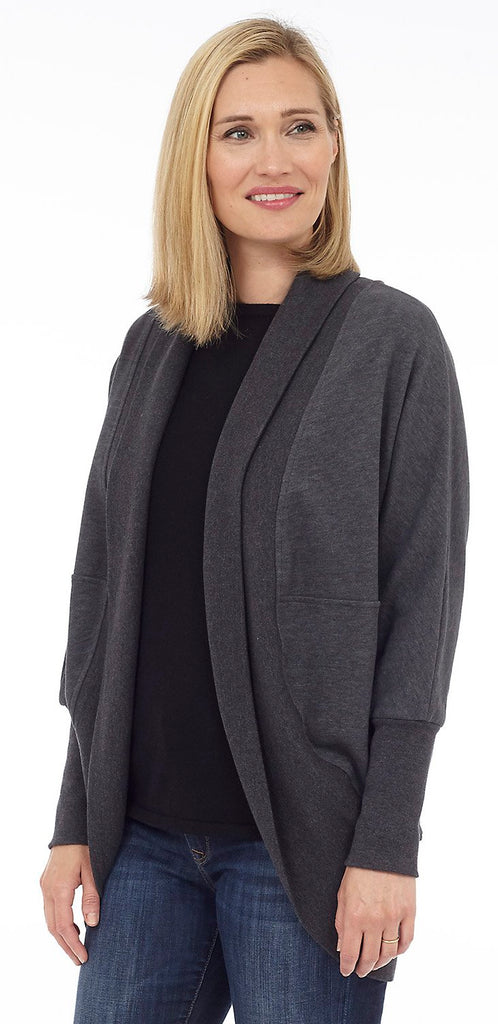 Cottage Collection Open Scoop Back Cardigan - Charcoal