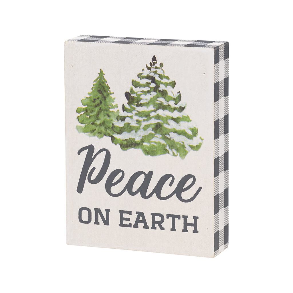 'Peace On Earth' Block Sign