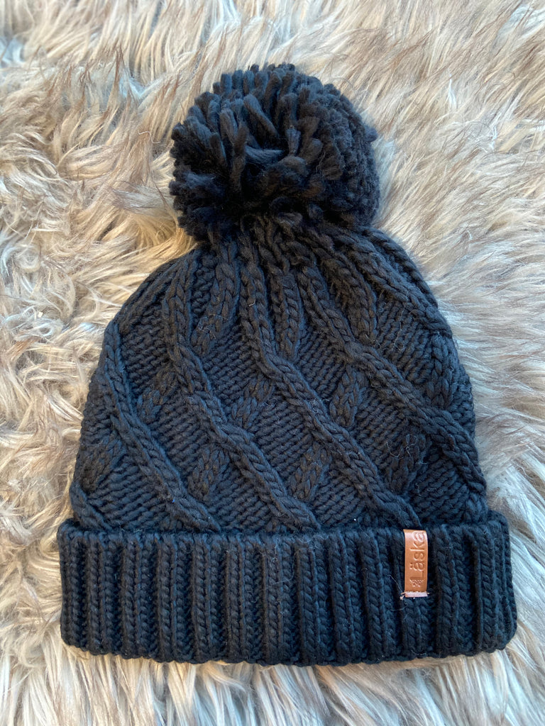 Criss-Cross Knit Lined Pom Toque - Black