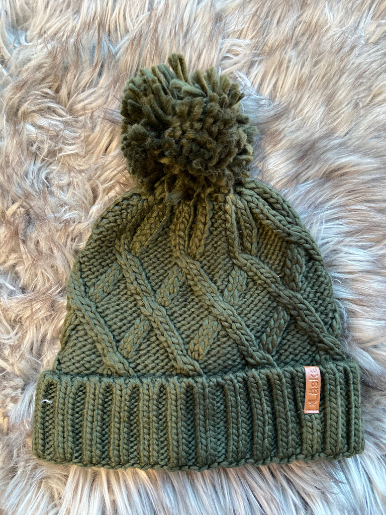 Criss-Cross Knit Lined Pom Toque - Olive
