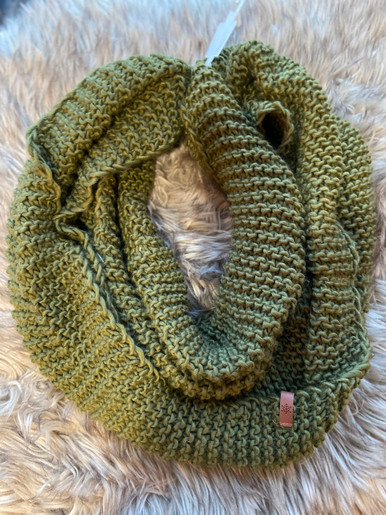 Classic Knit Infinity Scarf - Olive