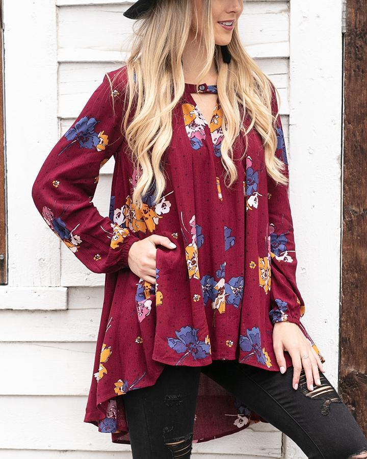 G&L Long Sleeve Keyhole Pocket Tunic - Wine Floral