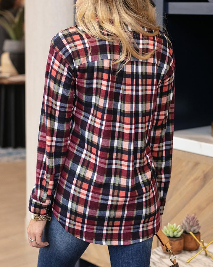 G&L Knit Plaid Henley - Berry Navy Plaid
