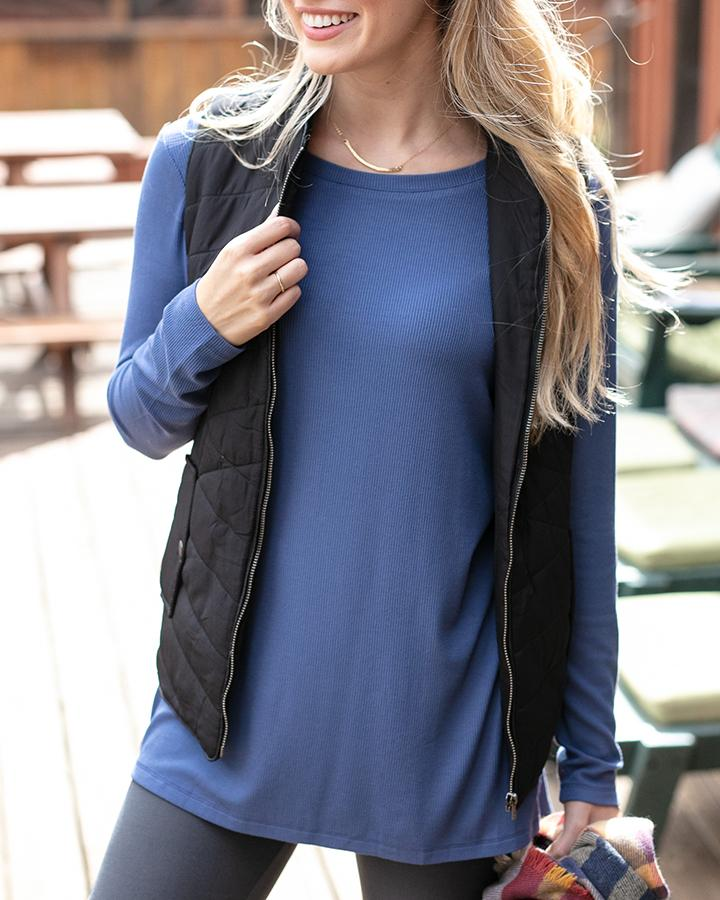 G&L Long Sleeve Tunic Tee - Blue Heron