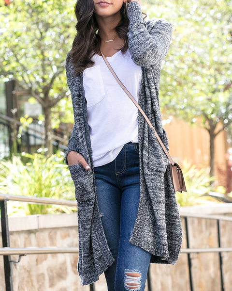 G&L Luxe - Lush Bamboo Duster Cardigan - Heathered Midnight