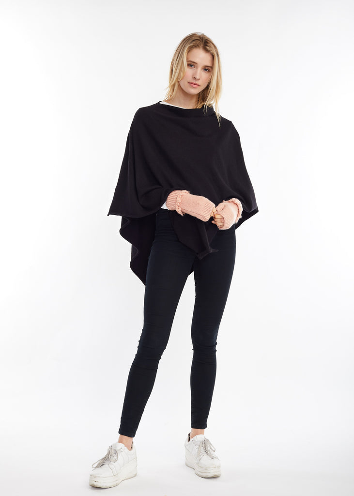 Merino Wool Poncho - Black
