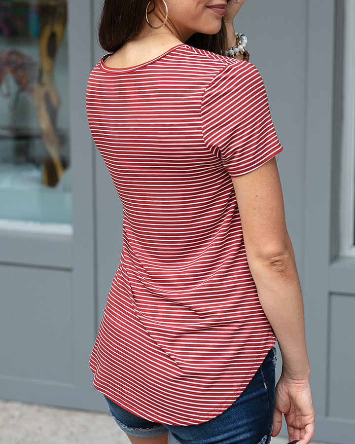 G&L Perfect V-Neck Tee - Rusty Red Stripe