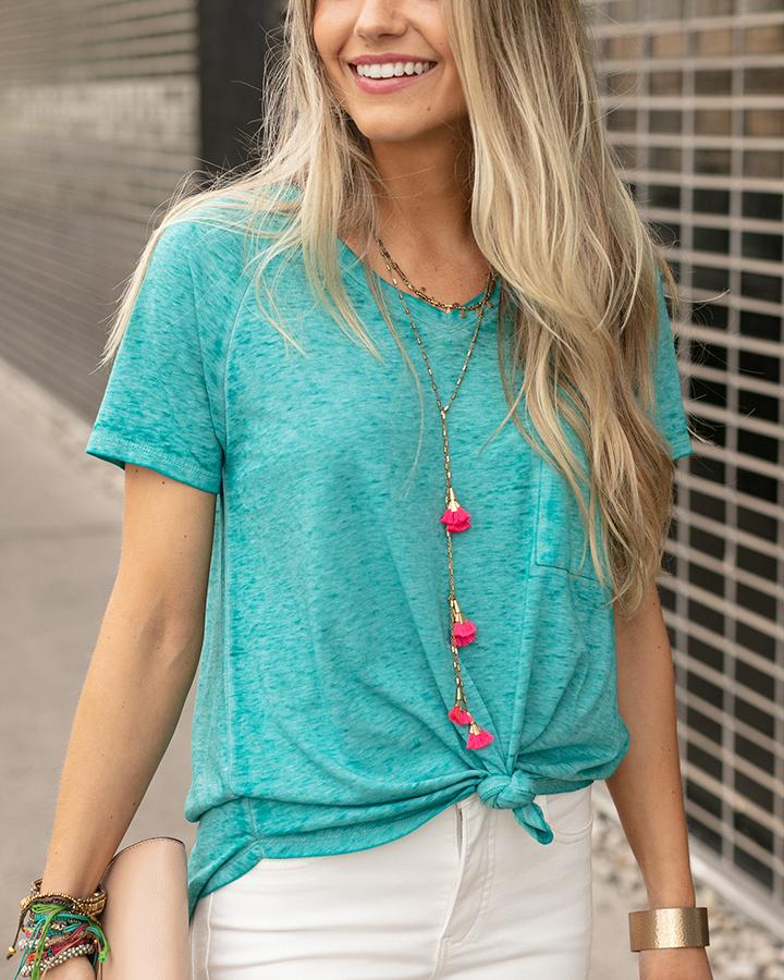 G&L Burnout Raglan Pocket Tee - Aqua