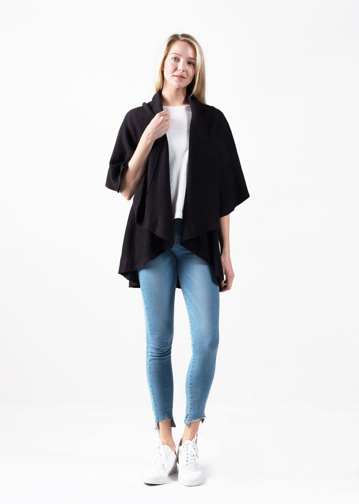 Multiple Fit Shawl Vest - Black