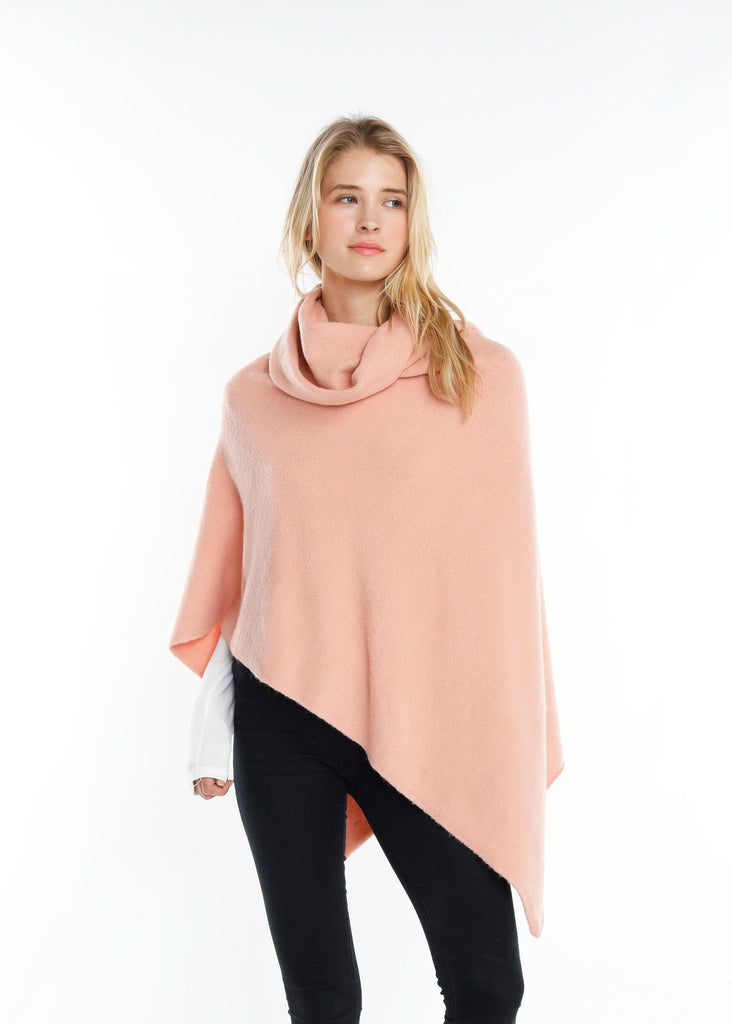 Merino Wool Turtleneck Wrap Poncho - Blush