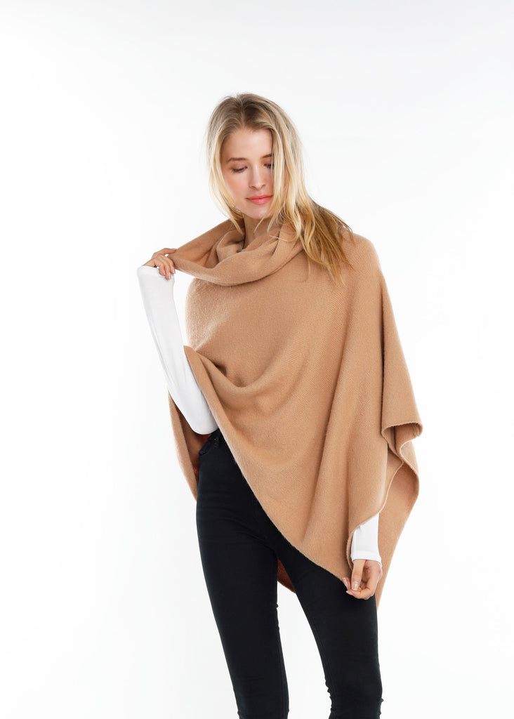 Merino Wool Turtleneck Wrap Poncho - Camel
