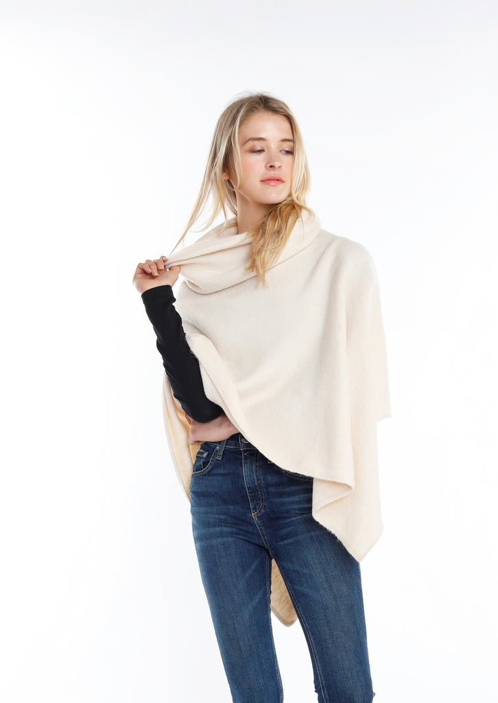 Merino Wool Turtleneck Wrap Poncho - Cream