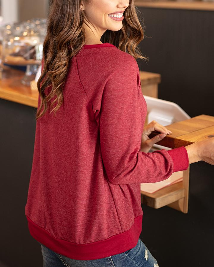 G&L Slouch Pullover - Heathered Ruby