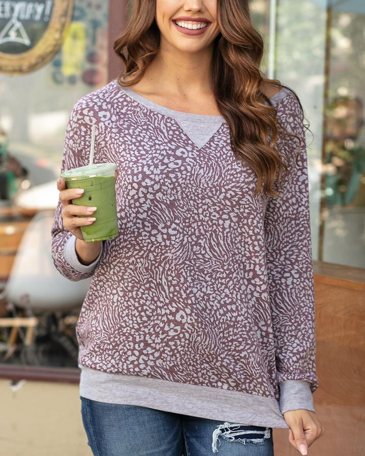 G&L Slouch Pullover - Wine Animal Print