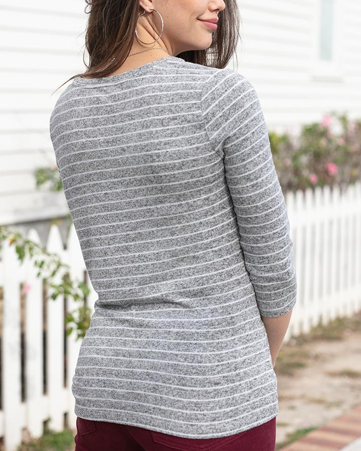 G&L Snow Day Tie Front Top - Heathered Grey Stripe