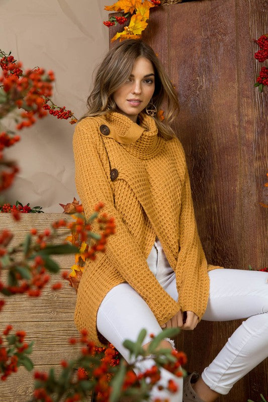 Sophia Chunky Knit Surplice Button Sweater - Mustard