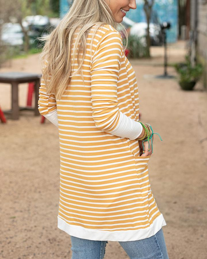 G&L Casual Day Cardi - Mustard Stripe