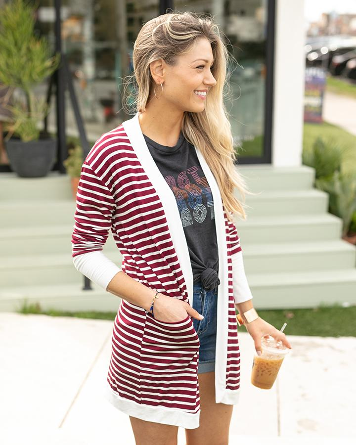 G&L Casual Day Cardi - Wine Stripe