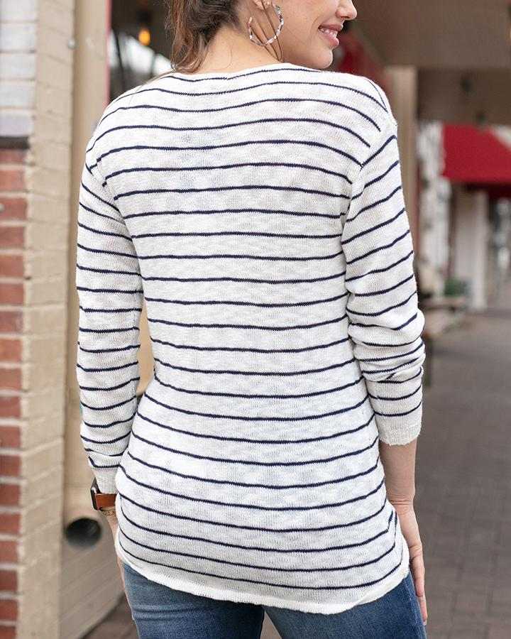 G&L Striped Cinched Sweater - Ivory/Navy Striped