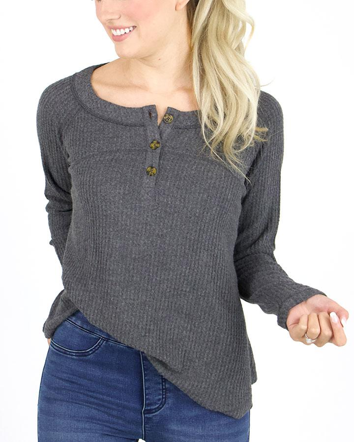 G&L Thermal Henley - Charcoal