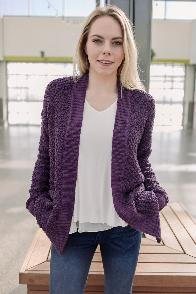 Briar Ribbed Edge Open Cardigan - Plum