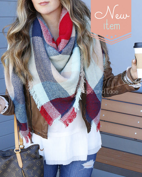 G&L Blanket Scarf / Toggle Poncho - Red/Mint Colorblock