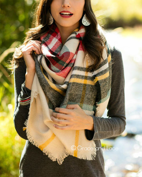 G&L Blanket Scarf / Toggle Poncho - Red/Sage Plaid