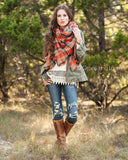 G&L Blanket Scarf / Toggle Poncho - Orange Multicolor