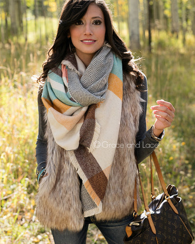 Reversible Button Scarf/Poncho - Cream Multi-color