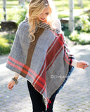 Reversible Button Scarf/Poncho - Slate/Rust