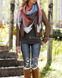 G&L Reversible Blanket Scarf / Pinned Poncho - Terracotta