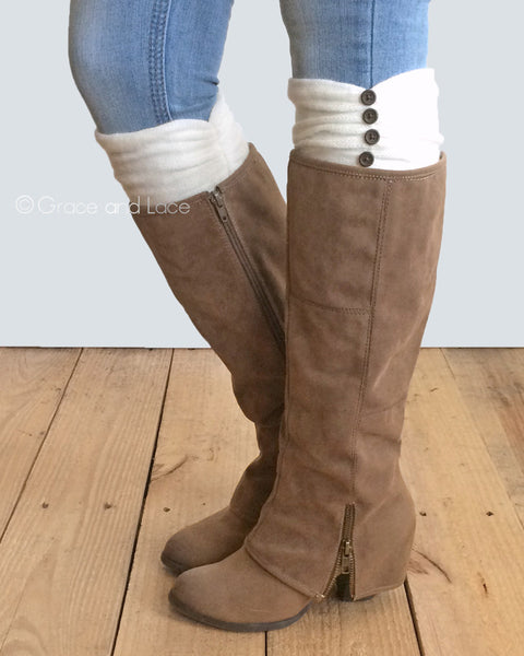 G&L Ruched Boot Cuffs - Ivory