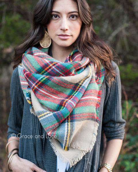 G&L Blanket Scarf / Toggle Poncho - Tan Multicolor