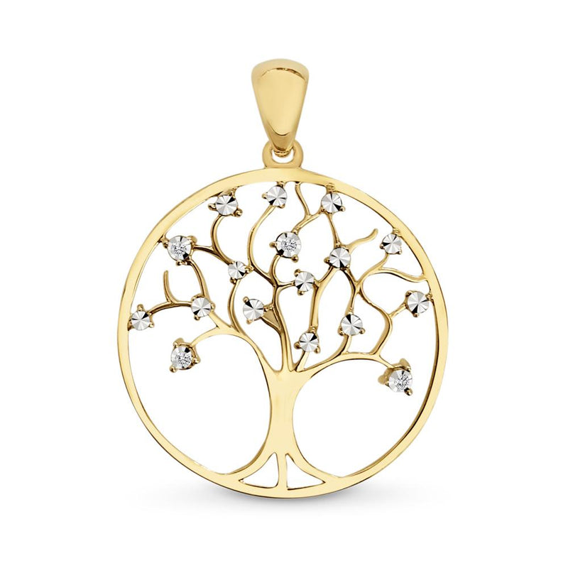 9Ct Gold Diamond Tree Pendant