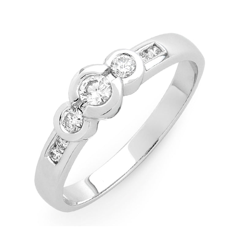 9Ct White Gold 0.25Ct Diamond Trilogy Ring