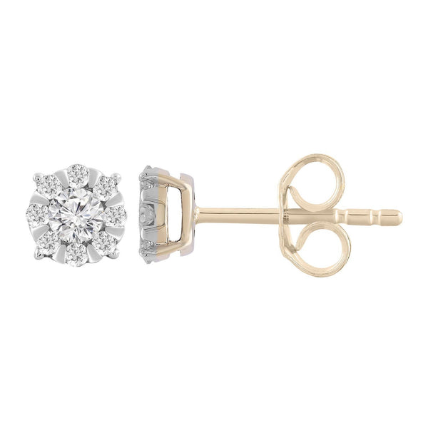 Stud Earrings with 0.25ct Diamonds in 9K Yellow Gold