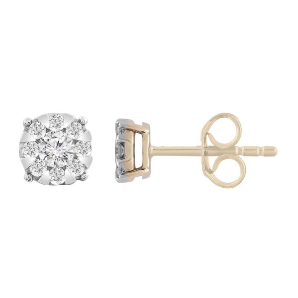 Stud Earrings with 0.33ct Diamonds in 9K Yellow Gold