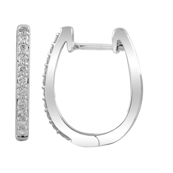 Huggie Earrings with 0.25ct Diamonds in 9K White Gold