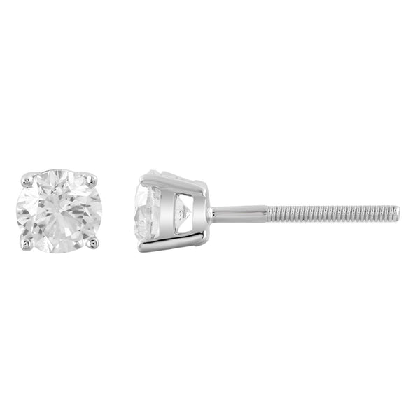 Stud Earrings with 0.75ct Diamonds in 9K White Gold