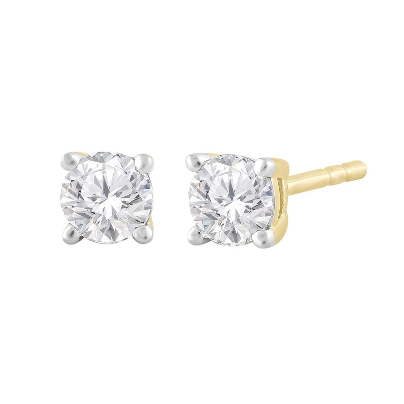 Stud Earrings with 0.3ct Diamond in 9K Yellow Gold